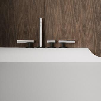 Falper Cilindro Смеситель на борт ванны, 4 отв., цвет: нержавеющая сталь/черный