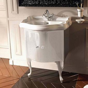 KERASAN Retro Комплект мебели, с ручкой кристалом (кольцо: золото), 69см, Цвет: bianco (белый глянец).