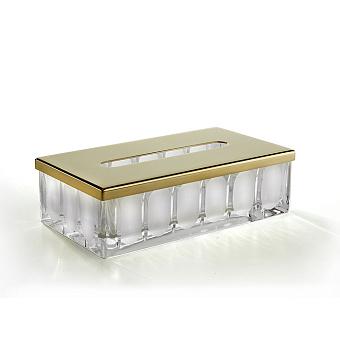 3SC Montblanc Контейнер для бумажных салфеток, 23х12,5хh7 см, настольный, цвет: прозрачный хрусталь/золото 24к. Lucido