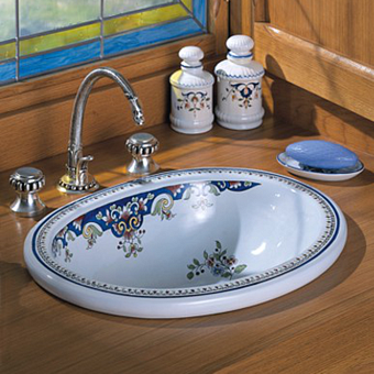 Herbeau Opale Раковина 46.5х37 см, без отв., цвет: белый с декором