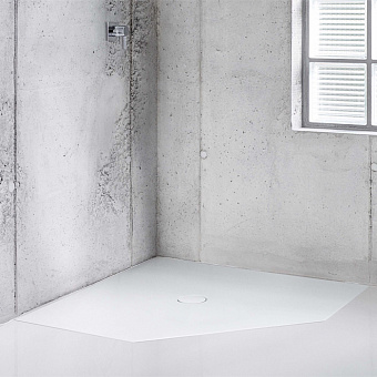 BETTE Floor Caro Душевой поддон 100х100 см, пятиугольный, D90 мм, с шумоизоляцией, цвет: белый