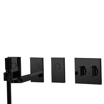 Carlo Frattini Switch Смеситель для ванны встраив, термост, на 3 полож, излив 208 мм, ручн душ и черн шланг 1500мм, внеш часть, цвет: черный матовый