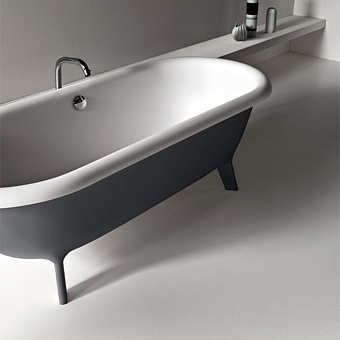 Agape Ottocento Ванна отдельностоящая 178х79х59.5 см, слив-перелив нержавеющая сталь, цвет: темно-серый