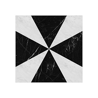 Devon&Devon Atelier Petit Marbre Плитка из натурального камня 40x40см, универсальная, мрамор, triangle, цвет: black marquinha/white carrara