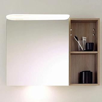 BurgBad Badu Зеркальный шкаф 90х31х66.5см, стеклянная полки, цвет: дуб фланелевый