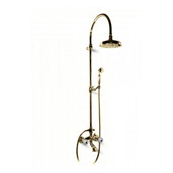 Bongio Rivoli Душевая стойка со смесителем для ванны, верхним и ручным душем, цвет: золото/хрусталь