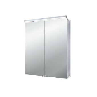 EMCO Flat Зеркальный шкаф 60х72.7см., LED-подсветка, 2 двери, 2 полки, розетка, без нижней подсветки