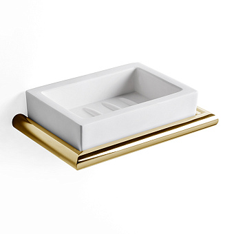 3SC Guy Мыльница подвесная, композит Solid Surface, цвет: белый матовый/золото 24к. Lucido