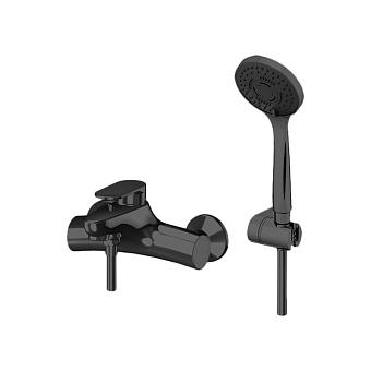 Gattoni H2Omix7000 Смеситель для ванны настенный однорычажный, с ручной лейкой и держателем, цвет: черный матовый
