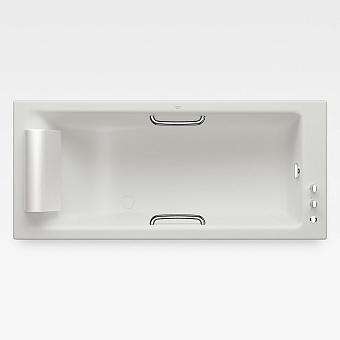 Armani Roca Island Встраиваемая ванна 180х80см термостат руч. душ, Hide-Flow, ручки, мягкий подголовник, цвет: off-white/хром