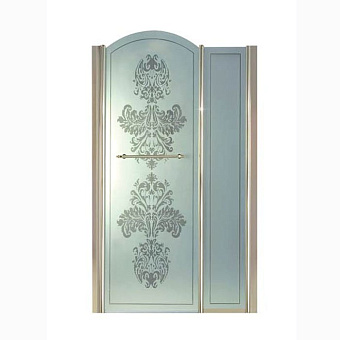 Душевая дверь Gentry Home Arcadia h120 см c фиксированной панелью слева/справа, матовое стекло с прозрачным цветочным декором, ручка и профиль (Incalux)