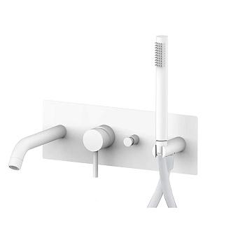 Paffoni Light Смеситель для ванны, встраиваемый, с переключателем на 2 потока, с ручным душем, цвет: белый матовый