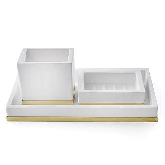 3SC Mood Deluxe Комплект: стакан, дозатор, лоток, цвет: белый матовый/золото 24к. Lucido