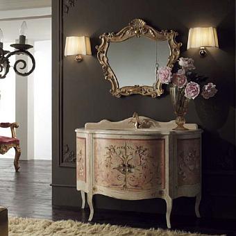 Mobili Di Castello Petronio Комплект мебели 80х125х56 см: напольная тумба, мраморная столешница, керамическая раковина, резное зеркало, бра 2 шт, мрамор Travertino/декор Petronio