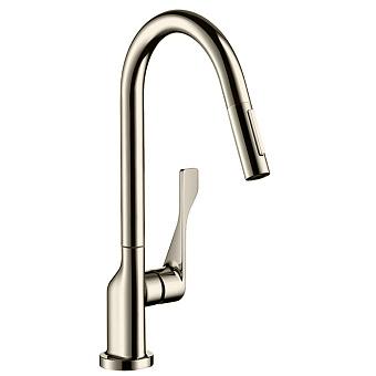 Axor Citterio Смеситель для кухни, однорычажный, на 1 отв, с выдвижным душем, излив: 220мм, цвет: под сталь