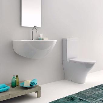 KERASAN Aquatech унитаз моноблок 65х33.5см, цвет белый, слив в стену, с бачком, механизмом слива и сиденьем белым микролифт, петли хром