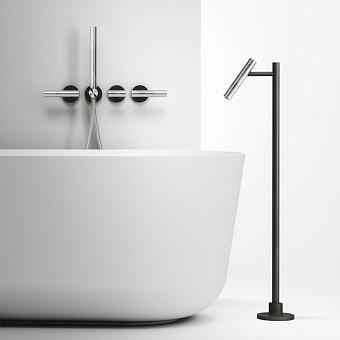 Falper Cilindro Смеситель для ванны, 4 отв., напольный, цвет: нержавеющая сталь/черный
