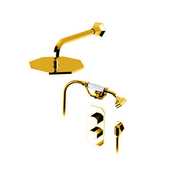 """Petracers Divino, Комплект термостатических кранов для душа для встроенной установки 1/2"""", цвет: золото"""