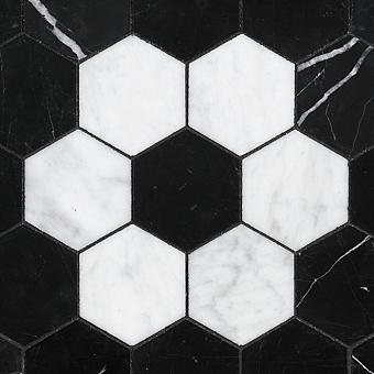 Devon&Devon Elite Плитка из натурального камня 60x60см, универсальная, мрамор, elite 8, цвет: black marquinha/white carrara