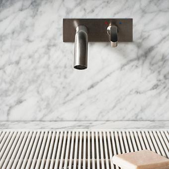 Agape Square Смеситель для раковины, встроенный, с джойстиком, излив: 20см, цвет: полированная сталь