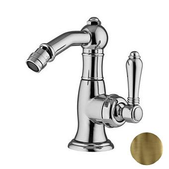 Nicolazzi P.m. Blanc Смеситель для биде, на 1 отв, с донным клапаном, излив: 127 мм, ручки белая керамика, цвет: Bronze Plated