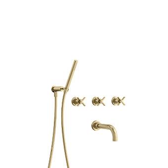 Cristina Cross Road Смеситель для ванны с ручным душем, встраиваемый, цвет: золото