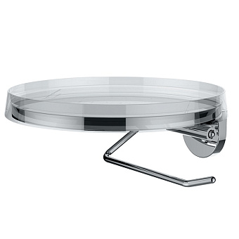 """Laufen Kartell Держатель для туалетной бумаги с диском цвета """"прозрачный кристалл"""", цвет: хром"""