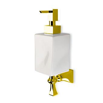 StilHaus Prisma Дозатор для жидкого мыла, цвет: золото/белая керамика