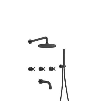 Cristina Cross Road Душевой комплект: смеситель встраиваемый, верхний душ, ручной душ, гибкий шланг, цвет: черный матовый
