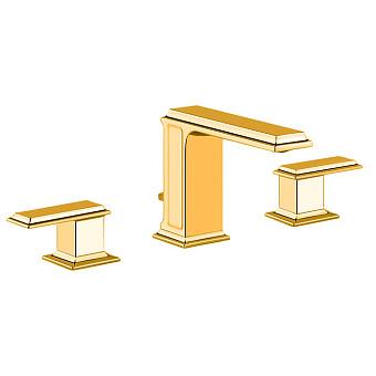 Gessi Eleganza Смеситель для раковины на 3 отверстия с донным клапаном, цвет: золото