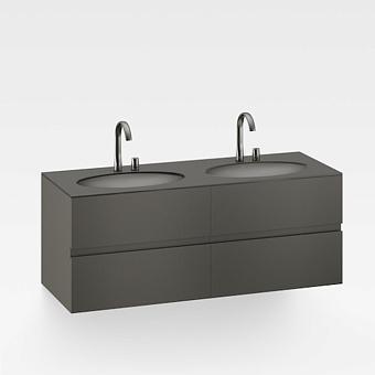 Armani Roca Island Тумба подвесная с 2 раковинами 155.4х59хh61см со столешницей, сифон, 4 ящика, цвет: nero