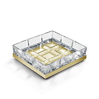 3SC Palace Мыльница настольная, цвет: прозрачный хрусталь/золото 24к. Lucido