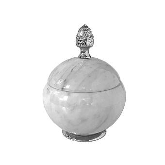 3SC Elegance Баночка универсальная, D=15/h18 см, с крышкой, настольная, цвет: мрамор bianco carrara/хром