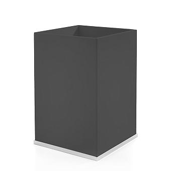 3SC Mood Deluxe Ведро, без крышки, 20х30х20 см, композит Solid Surface, цвет: чёрный матовый/белый матовый