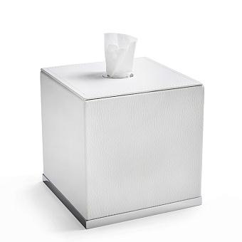 3SC Snowy Контейнер для салфеток, 14х14хh14 см, настольный, цвет: белая эко-кожа/хром