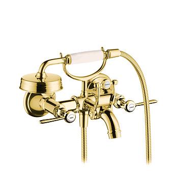 Axor Montreux Смеситель для ванны, настенный, на 2 отв, с ручным душем излив 249мм  (рычажные рук.), цвет: полированное золото