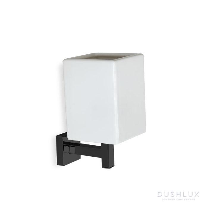StilHaus Urania Стакан, подвесной монтаж, цвет: черный матовый/белая керамика