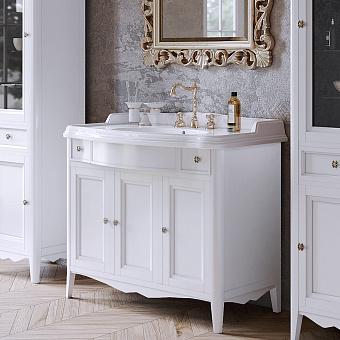 TW Veronica Nuovo комплект мебели с 2-мя выдвижными ящиками и 3-мя дверцами, с доводчиками Blum, ручки: бронза, 105см, Цвет: bianco
