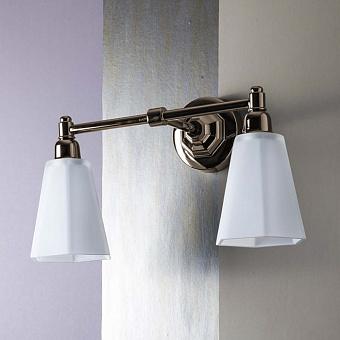 """Sbordoni Двойной светильник """"Déco"""" с абажуром из опалового стекла, цвет: никель/стекло белое"""