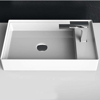 Artceram SCALINO Раковина накладная 38х60 см, без отверстий под смеситель, без слив перелива, цвет белый матовый