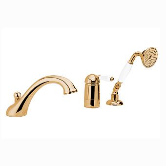 Nicolazzi P.m. Blanc Смеситель на борт ванны на 3 отверстия, с изливом 200мм и ручным душем, ручки белая керамика, цвет: золото 24к
