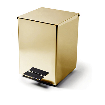3SC Hotel Ведро 5 л. 18x22xh26 см, с педалью, с крышкой и механизмом softclose, из нерж.стали, цвет: золото 24к. Lucido