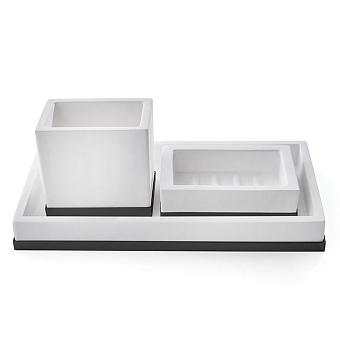 3SC Mood Deluxe Комплект: стакан, дозатор, лоток, цвет: белый матовый/черный матовый