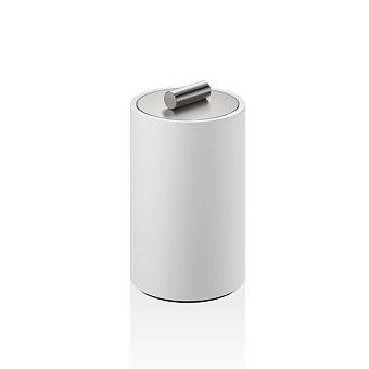 Decor Walther Stone DMD M Баночка универсальная 13x8см, с крышкой, цвет: белый / сталь матовая