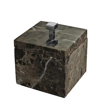 3SC Palace MARMO Баночка универсальная, 11x11xh13,5 см, с крышкой, настольная, цвет: мрамор Emperador dark/хром