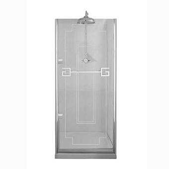 Душевая дверь Gentry Home Athena 90х190 см (открытие слевасправа), прозрачное, закаленное стекло 8 мм с греческим матовым декором, ручка и профиль - хром