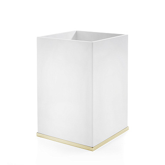 3SC Mood Deluxe Ведро, без крышки, 20х30х20 см, композит Solid Surface, цвет: белый матовый/золото 24к. Lucido