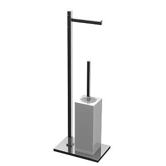 Bertocci Settecento Напольная стойка с ершиком и бумагодержателем, цвет: белый матовый композит/хром