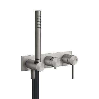 Gessi Shower316 Встраиваемый настенный смеситель для ванны, автоматический переключатель ванна-душ, держатель неподвижный, цвет: шлифованная сталь