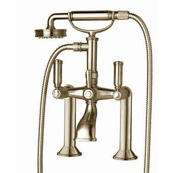 Bossini Liberty Смеситель на борт ванной на 2 отв. с переключателем, лейка Liberty, шланг из латуни 150 см, цвет: никель матовый